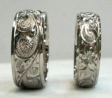 hand carved wedding rings